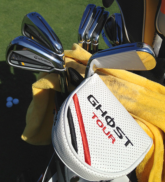 Retief Goosen's got TaylorMade's Ghost Tour putter and new RocketBladez Tour irons in the bag this week.