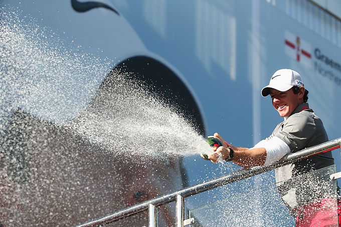 Between the Masters and the U.S. Open, McIlroy won the BMW PGA Championship, a European Tour event, and celebrated by spraying the crowd with champagne.