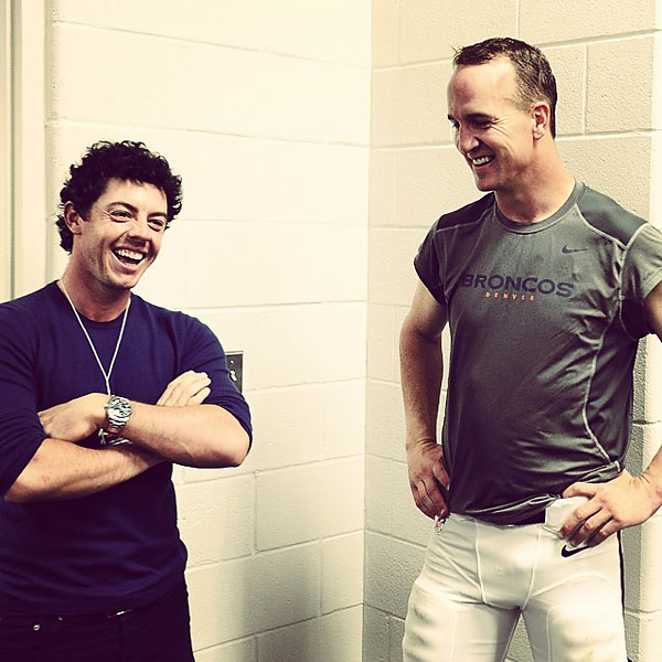 Before the BMW Championship at Cherry Hills, McIlroy swung by the Denver Broncos game to chat with NFL quarterback Peyton Manning.                                                          @McIlroyRory: Such a pleasure getting to spend some time with this guy yesterday. #Peyton #Manning #classact