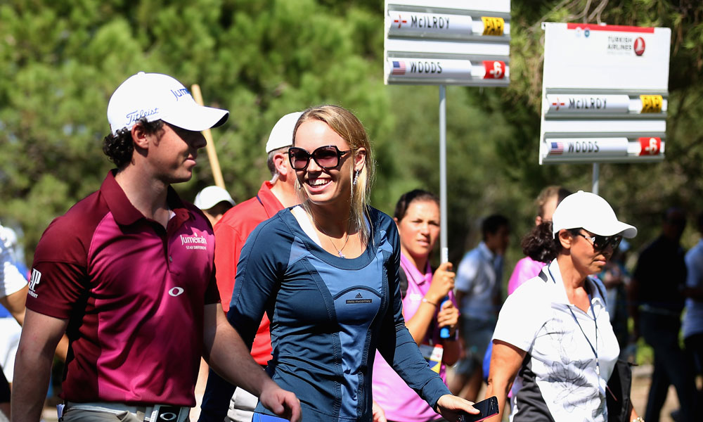 October 11, 2012: Wozniacki accompanied McIlroy to the Turkish Airlines World Golf Finals.