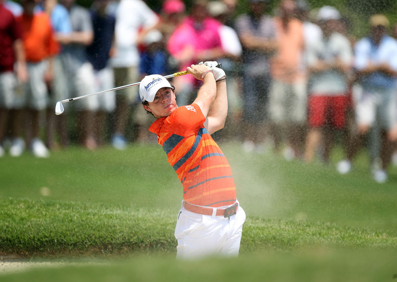 Rory McIlroy birdied three of the last four holes on Friday to grab a one-shot lead.