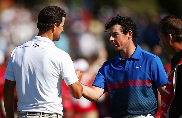 """Adam is a phenomenal golfer, a great competitor and probably an even better guy and I feel a bit sorry that I was the one that ruined the triple crown for him.""                       --Rory McIlroy on winning the Australian Open by one stroke over Adam Scott."