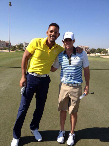 @McIlroyRory: Met the fresh prince aka Will Smith today at the golf course! Great guy and a good golf swing!