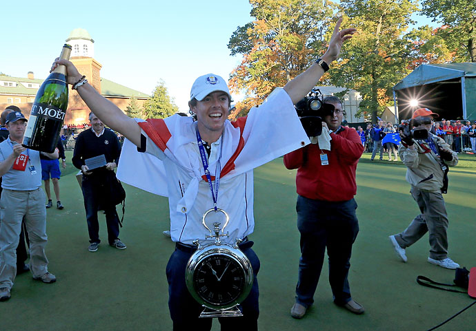 """I love that at Medinah when you holed a putt to win a hole and there was silence. I just loved that. That was awesome.""                       --Rory McIlroy on playing Ryder Cups on the road versus playing at home. (Photo of McIlroy celebrating after the European victory at Medinah.)"
