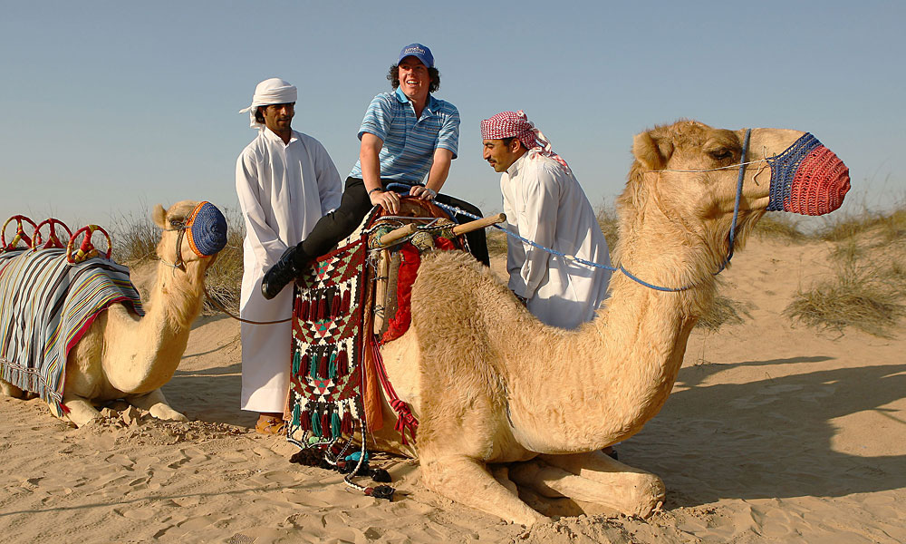 In 2009, McIlroy went for a camel ride while visiting the Bab Al Shams Hotel at Jumeirah Bab Al Shams Desert Resort & Spa in Dubai.