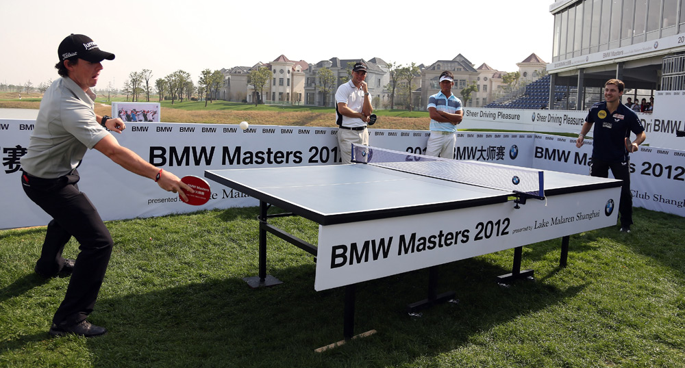Rory McIlroy took on professional table tennis player Timo Boll before the start of the 2012 BMW Masters in Shanghai, China.