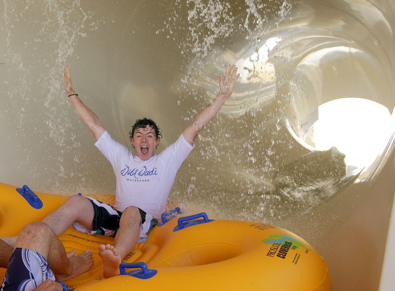 At the 2011 Omega Dubai Desert Classic, McIlroy tried the new rides at the Jumeirah Wild Wadi Waterpark.