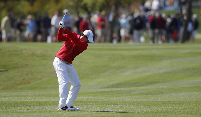 Rory McIlroy shot a one-under 71 Saturday to finish four shots off the lead.