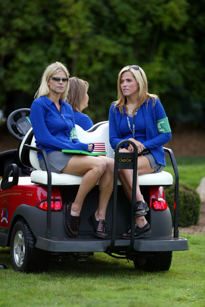 Elin Nordegren, then fiancee of Tiger Woods, and Amy Mickelson watch play at the 4th hole during the first day of competition at the 2004 Ryder Cup Matches at Oakland Hills Country Club in Michigan.