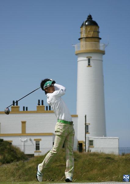 Japanese phenom Ryo Ishikawa tees off at the 10th during his practice round.