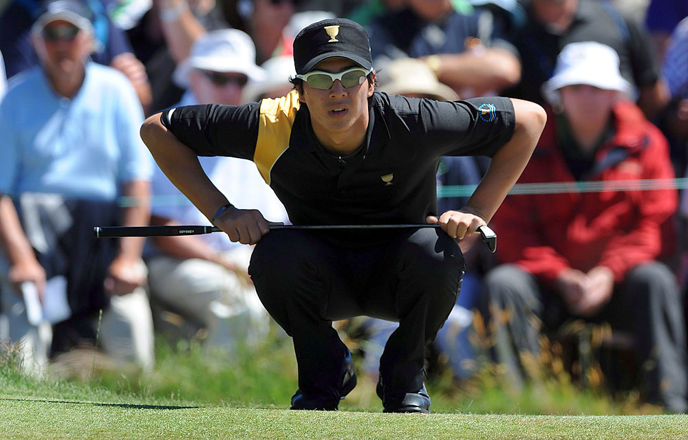 Ryo Ishikawa lost the first hole in his match against Bubba Watson, but then Ishikawa took over and won, 3 and 2.