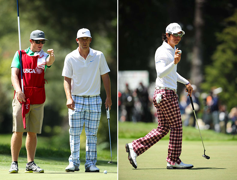 Poulter-guise                           More players are trying plaid trousers, a la Ian Poulter (not to mention golf greats of the past). Here, Kevin Chappell (left) is in a big blue windowpane plaid and Ryo Ishikawa (right) sports a tablecloth red check pattern.
