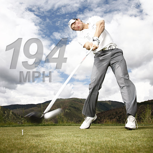 One of the secrets to Jamie Sadlowski's power is his early turn going back and ultra-aggressive turn coming through. But it is the way he tilts his shoulders that really sets him up for speed. Getting his right shoulder below his left on the downswing puts his arms in a strong hitting position and makes it easy for him to maintain explosive lag between his left forearm and the shaft.                                                      194 mph Sadlowski's ball speed at impact, measured the day this photo was taken, is 60 mph greater than the PGA Tour average.