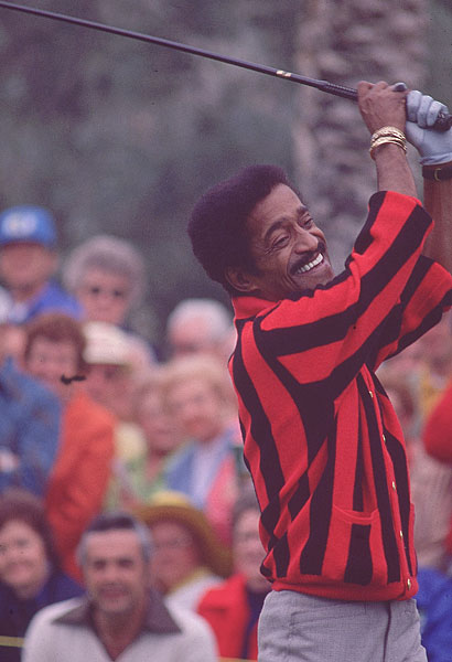 "... and Sammy Davis Jr. ""Sammy hits a nice ball, about 90 yards,"" Hope said. ""But his jewelry flies 110."""