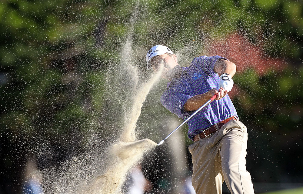 Hunter Haas ran into some bunker trouble on the 16th hole. He made a bogey and missed the cut by one stroke.