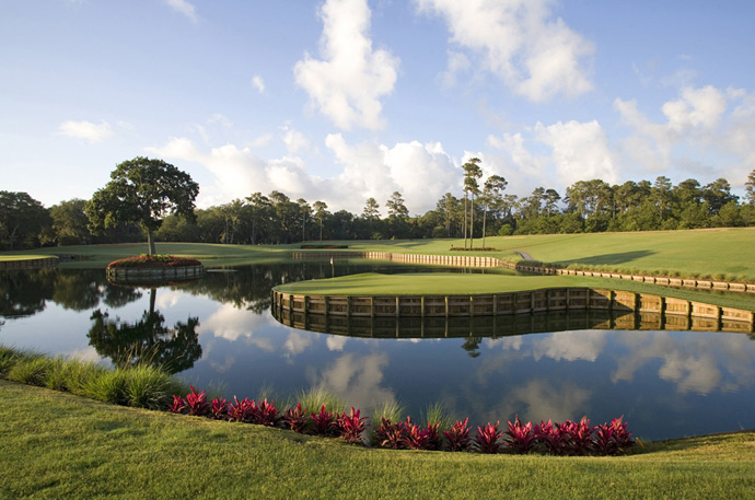 TPC Sawgrass (PLAYERS Stadium) -- Ponte Vedra Beach, Fla.                            	From the moment you make your tee time, you're thinking about one golf shot - and you know which one I'm talking about. Pete Dye's fiendishly exciting 17th is golf's ultimate gut-check. No par 3 anywhere demands such perfection with club selection and ball flight.