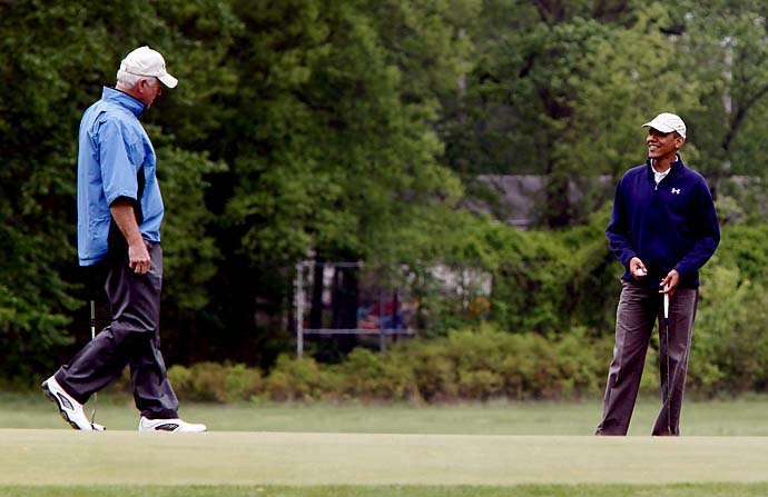 """I told him that since I got the hole-in-one he ought to give us everything we want on entitlement reform.""                           --Republican Sen. Saxby Chambliss [left] on making a hole-in-one during his round with President Obama."