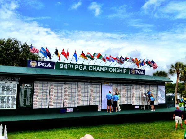 """@DavidDusek: Lots of numbers being filled in and lots of flags flying in the breeze. #PGAChamp"""