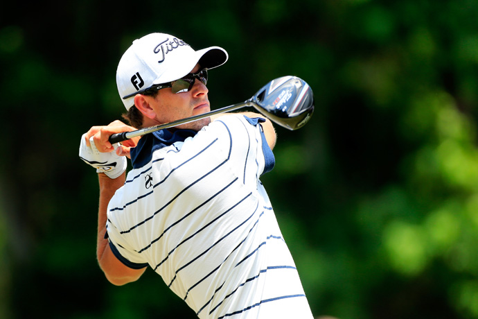Adam Scott's round was undone by a double bogey on the par-3 17th. He finished with a 75.