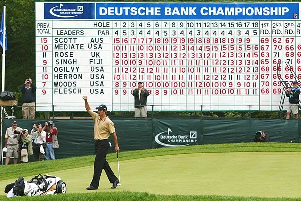 Scott won his first Tour title in 2003 at the first Deutsche Bank Championship, after a course-record 62 in the second round.