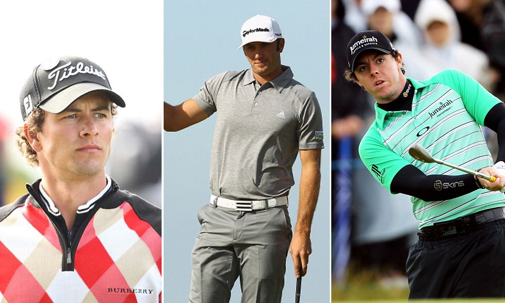"Today's young golfers tend to avoid the tweeds and traditions of the past, or add a twist to them, trying for a more modern approach: Adam Scott wears a Burberry diamond plaid zip sweater at the 2007 Open in Carnoustie; Dustin Johnson goes with a monochrome gray Adidas ensemble at Royal St. George's in 2011; Rory McIlroy wears a vivid green ""wet suit"" style striped shirt by Oakley last year."