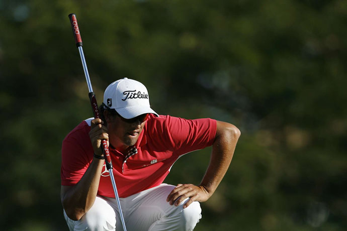 2011: Prior to the start of the season, Adam Scott adopts a broomstick-style putter.