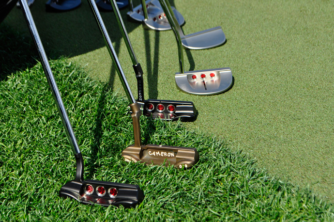 Plenty of Titleist Scotty Cameron Select blades and midsize mallets found their way to the practice putting green at PGA National.