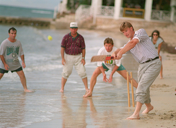 Ernie Els: CricketErnie Els played beach cricket in Jamaica with fellow pros Craig Parry, Mark McCumber and Nick Price at the Johnnie Walker World Championship of Golf in 1994. A natural athlete, Els excelled in tennis, rugby and cricket as a youngster in South Africa.