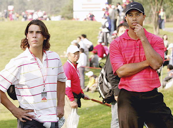 Nadal got a rare opportunity to be inside the ropes with Tiger Woods during the final round of the 2006 HSBC Champions in China.