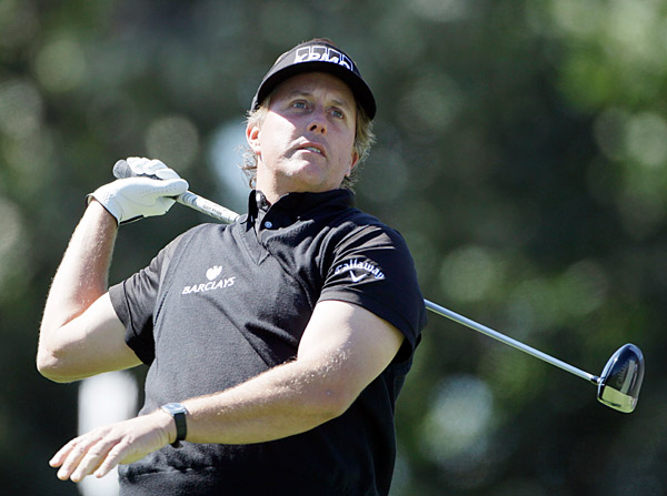 Phil Mickelson struggled early, going four over through his first five holes.
