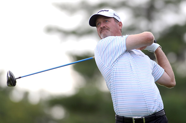 Jerry Kelly is tied with Schwartzel at five under.