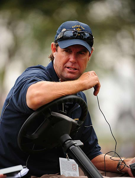 Paul Azinger, the American captain, watched his charges on Saturday morning.