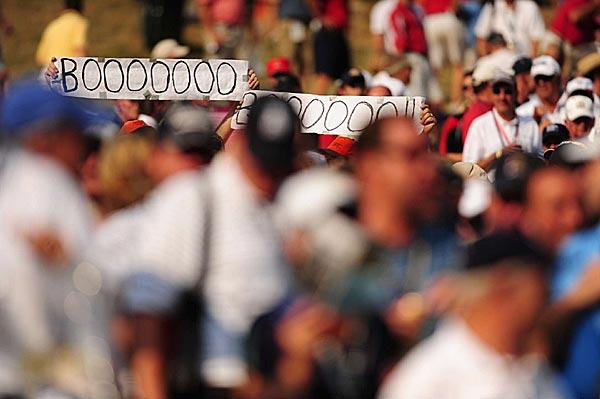 """Signs to lead the cheers of """"Boooooooo."""""""