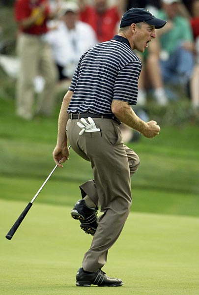 Furyk kept the match alive with a birdie putt on 17. The ball went all the way around the cup before falling in to halve the hole and extend the match.