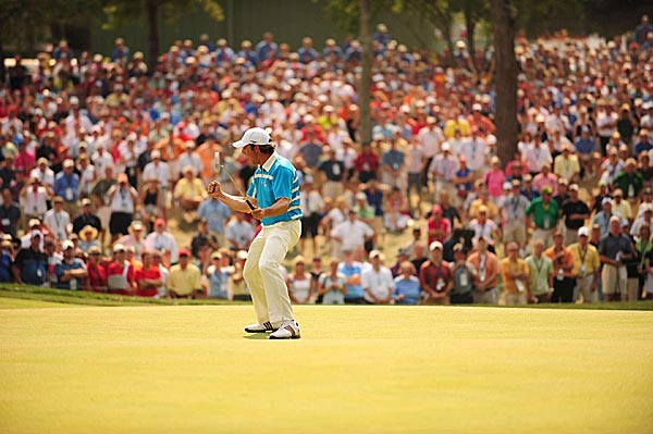 Prior to Stricker's final putt, the most dramatic moment in the match came on the par-3 eighth hole. After making a long putt for birdie, Garcia let out a primal scream and pumped his fist.