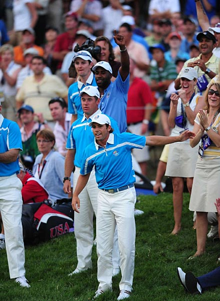 Garcia and the rest of the European contingent near the 18th green cheered Karlsson's second shot, which landed behind the green and rolled back toward the pin.