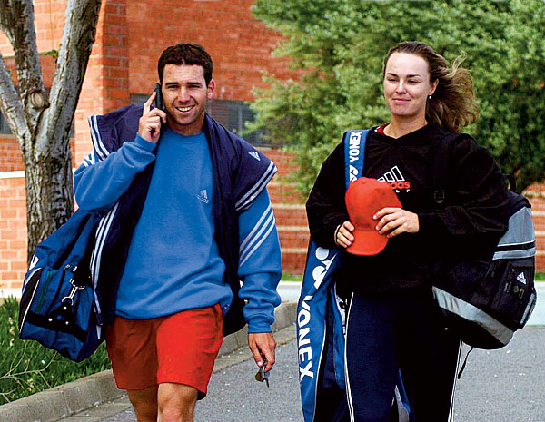 "Sergio Garcia and Martina Hingis                                              The European It Couple of the spring of 2002, Sergio and Martina were young and glamorous and cut a dashing figure against Sergio's blue Ferrari. However, they were splitsville by fall. Asked by Golf Magazine about the breakup, Serge replied simply, ""It's complicated."""