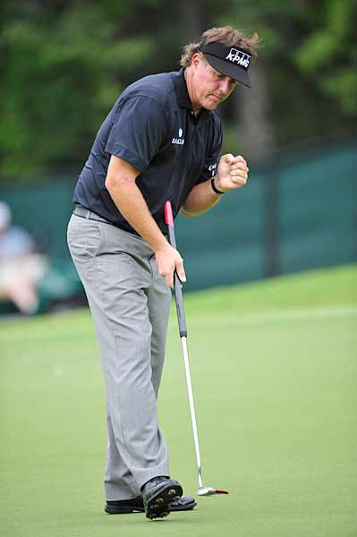 Phil Mickelson was two under on the day.
