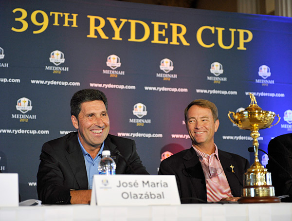 Captains Jose Maria Olazabal and Davis Love III held a press conference on Monday at Medinah Country Club, site of next year's Ryder Cup.