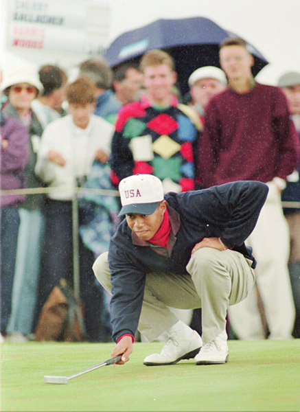Tiger Woods                           The only man to win three-straight U.S. Junior Amateurs and three-straight U.S. Amateurs represented the U.S. in the 1995 Walker Cup at Royal Porthcawl Golf Club in Wales. Tiger went 2-2.