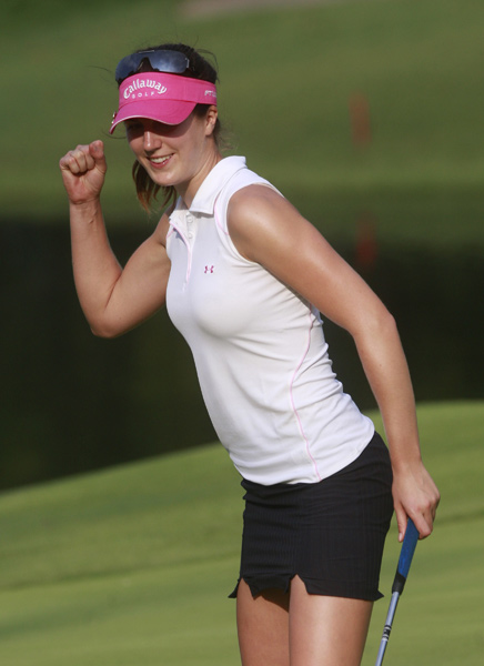 Sandra Gal made an eagle on 18 to shoot a seven-under 64 and grab a one-shot lead.