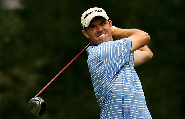 Padraig Harrington birdied the last four holes to shoot a seven-under 63.