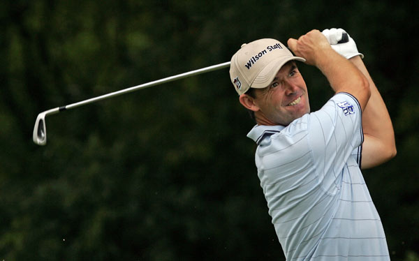 Padraig Harrington cooled off with an even-par 70 after shooting a 29 to end his round Thursday.