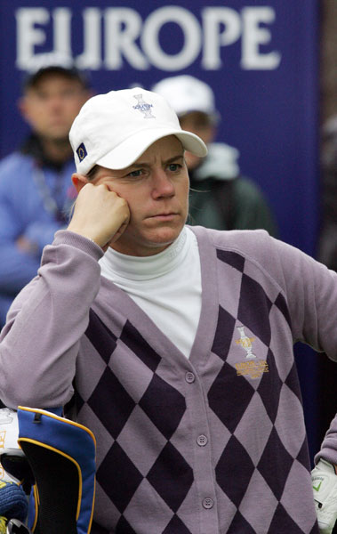 Annika Sorenstam lost her singles match to Morgan Pressel.