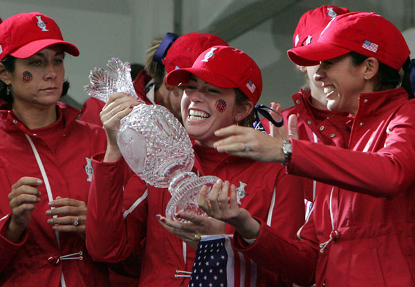 Paula Creamer, center, and Nicole Castrale, right, won their matches, but Laura Diaz lost 3&2 to Catriona Matthew.