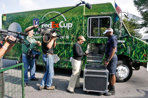 The special edition FedExCup truck delivered the FedExCup trophy to the clubhouse Saturday.