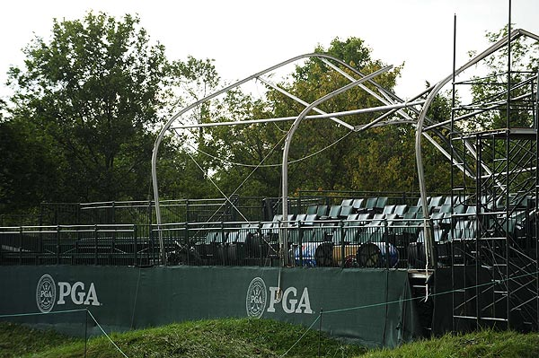 A TV tower near the 12th hole collapsed during the storm.
