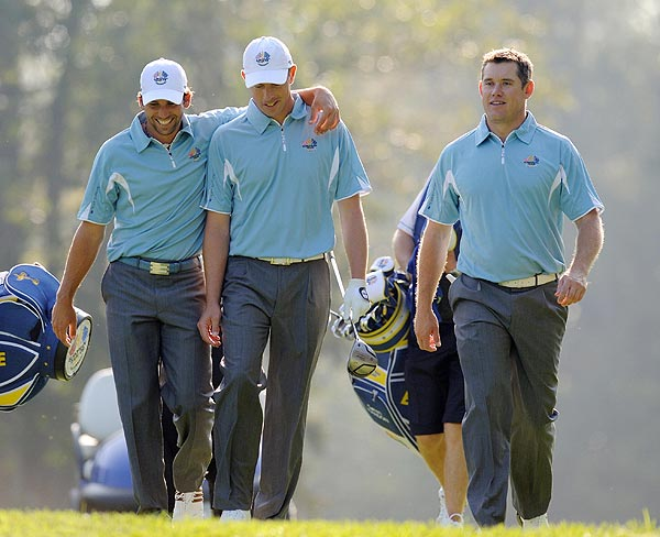 Captain Nick Faldo sent the Europeans out in groups of three on Tuesday. Sergio Garcia, Soren Hansen and Lee Westwood played together.