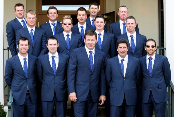 Back rows, from left: European team members Lee Westwood, Robert Karlsson, Graeme McDowell, Ian Poulter, Henrik Stensen, Padraig Harrington, Justin Rose, Miguel Angel Jimenez and Soren Hansen. Front row: Paul Casey, Oliver Wilson, captain Nick Faldo, assistant captain Jose Maria Olazabal and Sergio Garcia.