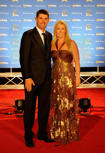 Padraig Harrington and wife Caroline on the red carpet before the Ryder Cup Gala dinner Wednesday night.